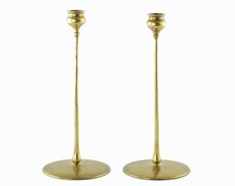 "Antique Robert Jarvie ""Delta"" Brass Candlesticks Arts and Crafts Era"