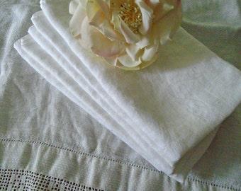 5 Cotton Damask Napkins / Dinner Napkins / Floral And Leaf Pattern / Fluffy White Cotton Napkins / Dinner Napkins / French Country / Cottage