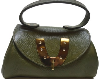 Vintage 60s ROGER VAN S Olive Pebbled Leather Handbag with Red Lining and Horseshoe Emblem