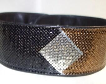 Whiting & Davis 60s Mesh Adjustable Belt Art Deco Design
