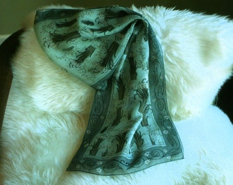 Vintage Teal Scarf ARTS and CRAFTS Print Soft Colors