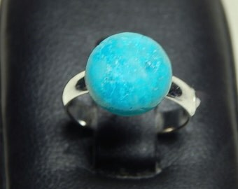 Child's Adjustable Silver Plated Ring With Genuine Turquoise Cabochon