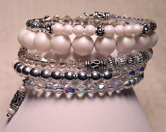 5 Row Pearlescent Pearls, Silver Plated and Vintage Rose Crystal Memory Wire Bracelet #8 in Series