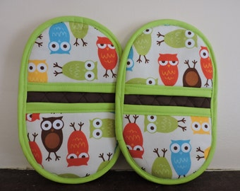 Microwave Mitts-Oven Mitts-Pinchers-Multi-Color Owls w/Lime Green Trim-Free Shipping