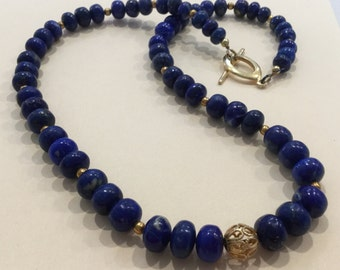 Lapis Lazuli and Gold Filled Bead Necklace