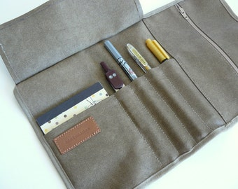 Teacher gift - Roll up pencil case -Waxed/resined canvas  khaki roll up // adults pencil case/gift for him/ gift for her