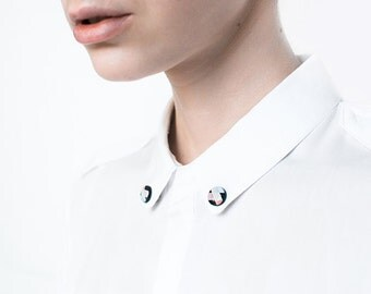 Round collar brooches, collar pin, jewelry for shirt, trending accessory minimalist