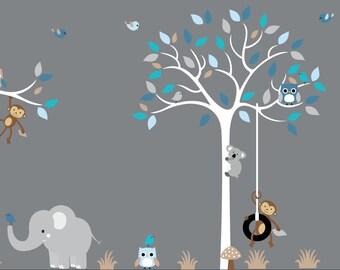 Baby Boy Wall Decal Nursery White Tree Wall Decal Grey Blue   106 Custom  Listing For Part 88