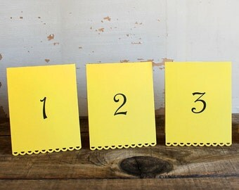 set of 10 yellow tented table number cards for wedding, shower, party - tallulah