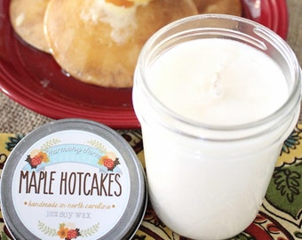 Maple Hotcakes Soy Wax Candle in 8 oz. Jelly Jar - Fall Candle for Home, Gift, Housewarming, Hostess, Birthday, Present