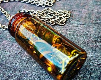 Steampunk Amber Tinted Glass Jumble Jar