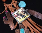Handmade One of a kind, Southwestern, Cowgirl, Boho, Cactus, Turquoise, Purse Bling, Necklace