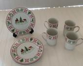 Vintage Christmas  Sampler 8 Piece Mug & Dessert Plates Designed for Saks 5th Avenue