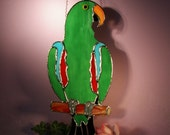 Stained Glass Suncatcher Eclectus Parrot Male  (675)
