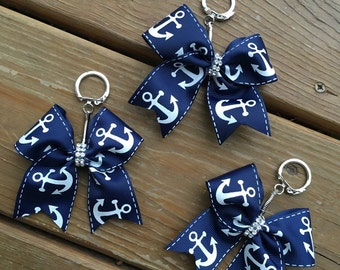 Navy Anchor Bow Key Chain