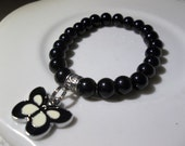 Black Butterfly Charm and Black Pearls- Beaded Stretch Bracelet  (418)