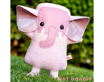 Pink Elephant plush, Elephant stuffed animal, Cute wildlife stuffy soft toy doll, Kawaii room decor, Handmade animal lover gift, Flat Bonnie