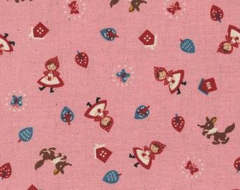 Red Riding Hood - Pink Riding Hood - Canvas Linen Blend Fabric from Kokka