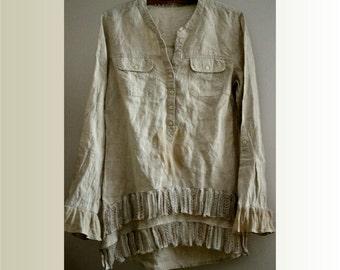 tunic linen light beige boho upcycled clothing recycled tunic eco style