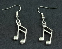 [BUNDLE] Notes double sixteenth earrings note music SLV