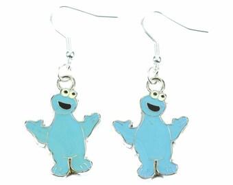 [BUNDLE] Cookie Monster earrings-Monster blue enamelled quite