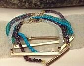 Gold Gemstone Bracelet, Delicate Gem Bracelet, Rondell Bracelet, Ladies Bracelet, Gold Bar Bracelet, Stacking Bracelet