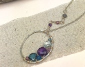 Gemstone Necklace/ Gemstone Jewelry/ Amethyst Necklace/ Birthstone Necklace/ Bridal Jewelry/ Funky Necklace/ Artisan Necklace