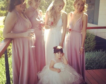 """RESERVED for Tiffany Worthy - 8 Custom Princess """"Infinity"""" Dresses in #14 cantaloupe and #13 light peach."""