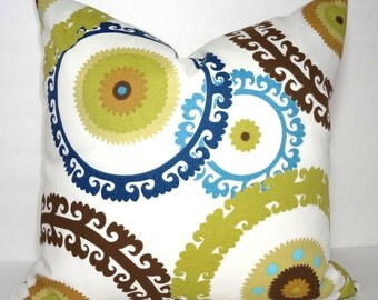 OUTDOOR Pillow Cover Green Brown Blue Suzani Print Medallion Porch Pillows Deck Pillow Size 18x18