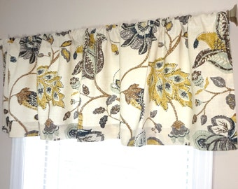Curtain Valance Topper Window Valance 52x15 Brown Grey Blue Gold  Floral Valance