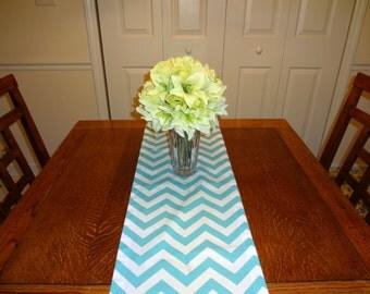 Blue Chevron Table Runner Zig Zag Table Top Runner Wedding Table Runner Blue & White  All Sizes