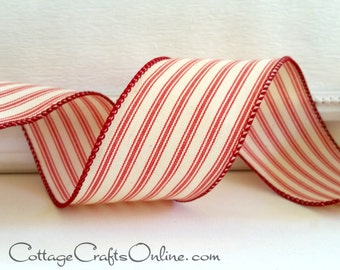 "Wired Ribbon, 2 1/2"" wide, Red and Ivory Cotton Ticking Stripe - TWO & 2/3 YARDS - Offray ""Lombardo"", #70307 Christmas Wire Edged Ribbon"