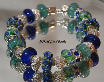 European Style Charm Bracelet Handmade with Murano Glass Lampwork Beads