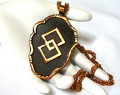 signed BELL Copper large Pendant Necklace, southwest, tourist jewelry, Excellent