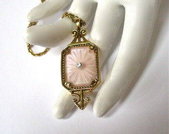 1970's signed Pendant Necklace, Avon, Frostlights, pink camphor glass, Mother's Day, Excellent