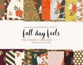Fall Day Feels Autumn Floral F pattern paper  Floral Clipart Graphic   files Printed CU OK Stickers  300 dpi