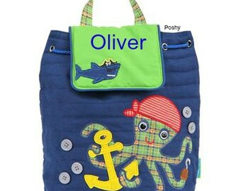 Personalized Boy Backpack or Baby Diaper Bag Stephen Joseph Quilted Signature Octopus