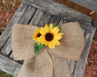 Burlap and Sunflower Bows, Pew Bows, Burlap Wedding, Chair Bows, Sunflower Wedding, Rustic Wedding, Primitive Wedding, Sunflower Pew Bows