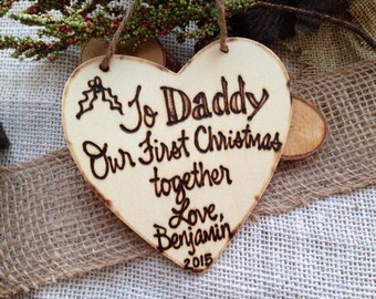 HOLIDAY Ornament Baby's First Christmas for Daddy Personalized Christmas Ornament Rustic New Baby New Father Parents Child