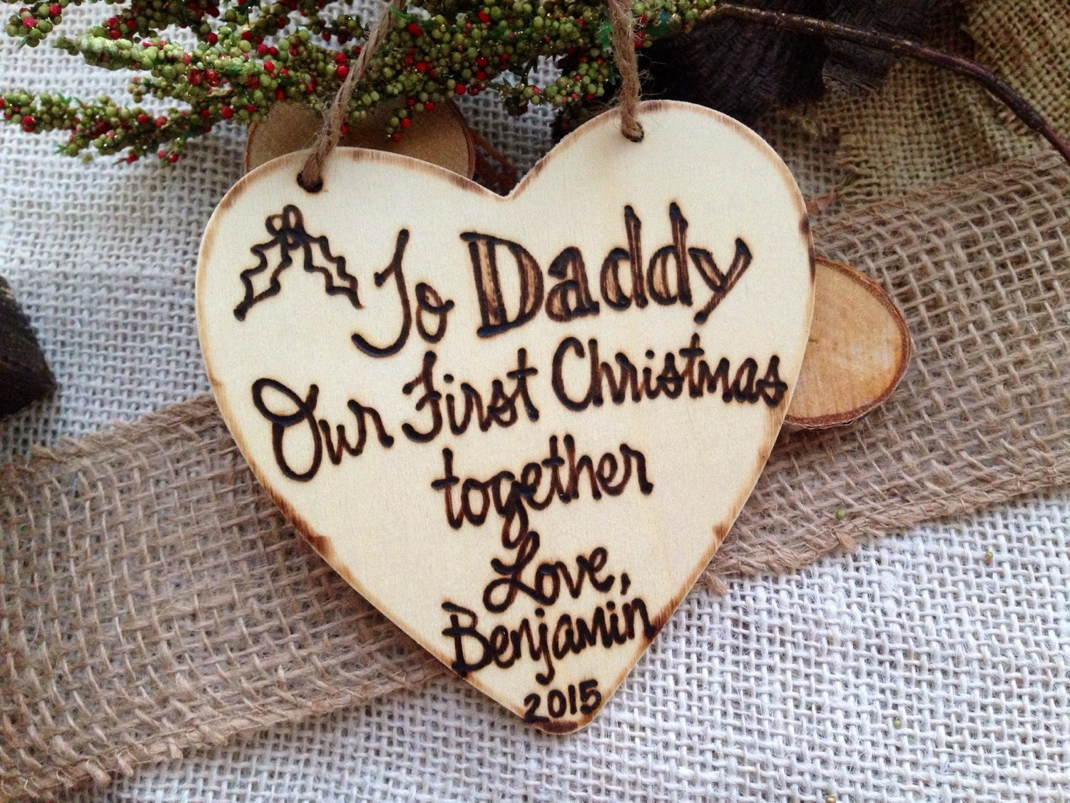 Dad christmas ornament - Holiday Ornament Baby S First Christmas For Daddy Personalized Christmas Ornament Rustic New Baby New Father Parents