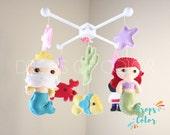 Baby Mobile, Baby Crib Mobile, Little Mermaid Mobile, Nursery Inspired Disney The Little Mermaid, Princess Ariel, Fishes, Ocean Mobile Decor