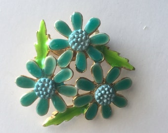 Vintage Floral Enamel Daisy Pin - Brooch - Teal, Blue and Lime Green - Gold Base