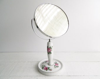 Vintage Shabby Rose Vanity Mirror - Double Sided Porcelain Magnified Makeup Mirror -  Cottage Chic