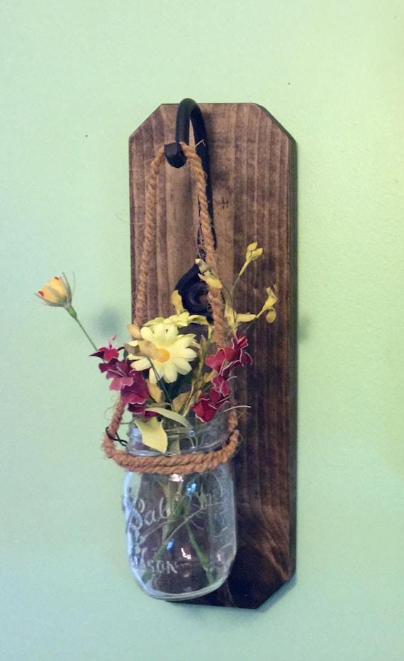 Mason Jar Wall Sconce Etsy : Mason jar wall sconces Mason jar decor Home decor wood wall