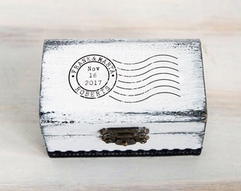Ring Bearer Box Travel Theme Wedding Box Rustic Ring Box Custom Ring Box White Ring Holder Proposal Ring Box Post Stamp Box Engagement Box