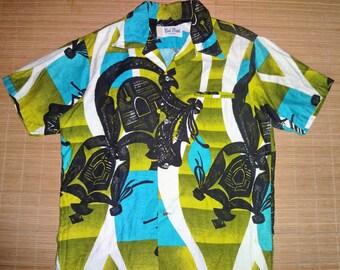Mens Vintage 70s Hawaii State Symbol Hawaiian Shirt - L - The Hana Shirt Co