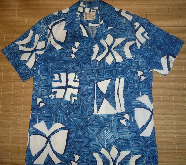 Mens vintage 60 39 s ross sutherland blue elvis hawaiian for The hawaiian shirt company