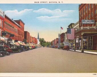 Batavia, New York, Main Street - Vintage Postcard - Postcard - Unused (G)