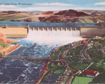 Grand Coulee Dam, Washington - Vintage Postcard - Postcard - Unused (A4)