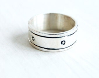 Sterling Silver Men's Ring Size 11 .25 Striped Vintage Mexican Band Taxco Mexico Masculine Industrial